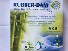 Dental DAM BARRAGE en caoutchouc Feuilles Milieu 6x6 36 Feuilles Menthe
