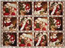 12 Christmas Holiday Panels Santa Tree Children Quilt Home Decor & Other Project