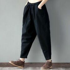 New Womens Cotton Linen Harem Pants Baggy Leisurely Trousers Casual Vintage Grey