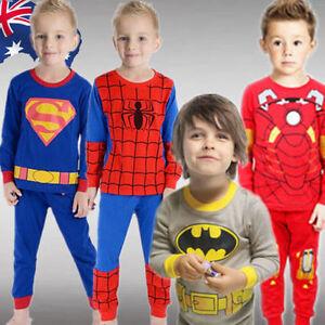 Boy Kids Pajamas Sleepwear Night PJs Clothes Superman Batman Spiderman CTSHI24
