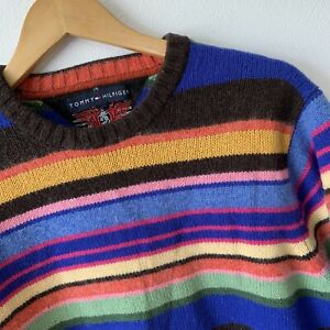 Tommy Hilfiger Striped Jumper Sweater Size M Lambswool Blend Multicoloured