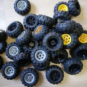 LEGO - x4 qty Wheel 30.4mm D. x 20mm  with Black Tire 56 x 26 Balloon