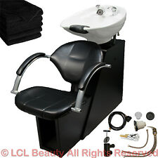 White Backwash Ceramic Shampoo Bowl Sink Chair Station Beauty Salon Equipment