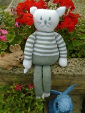 New Hand Knitted Grey/White Cat Soft Toy