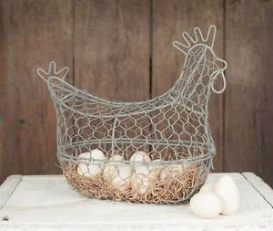 Farmhouse/Cottage/Primitive/Country Chicken Wire Egg Basket