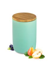 latas de reserva con Cubierta madera cerámica Turquesa recipiente almacenamiento