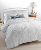 Martha Stewart Full Queen Whim You Compleat Me White Comforter Pleated Blanket