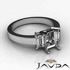 Elegant 3 Stone Anniversary Ring Emerald Diamond Semi Mount 14k White Gold 0.4Ct