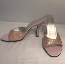 """Chilis 4"""" High Heels Size 8M Pink Stilettos Shoes Shiny Open Toe Cocktail Party"""