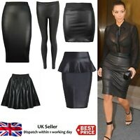 Women Ladies Wet Look Faux Leather Pencil Stretch Plus Size Midi Skirt 8-26
