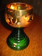 Vintage Green Gold Gilt Wine Glass Thorens Music Box Alt Heidelberg Goblet