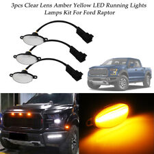 For Ford F150 3pcs Clear Lens 3000K 12-SMD Amber LED Front Grille Running Lights