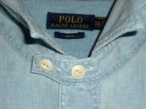 POLO RALPH LAUREN INDIGO CHAMBRAY 30's STYLE CHIN STRAP LG/SLEEVE SHIRT-XXL/TTG