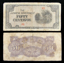Philippines WWII Japanese Government 50 Centavos Banknote Used