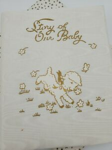 Vtg Henderson Story Our Baby White Satin Boy Girl Record Book Birth Writers Lamb