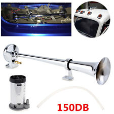 Universal 150db Loud 450mm Single Trumpet Air Horn Kit Compressor Car Truck Mega