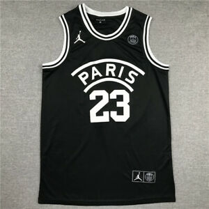 Classic #23 Michael Jordan X Paris Basketball Jersey Stitched Black