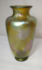 EARLY TIFFANY FAVRILE DECORATED ART GLASS VASE, ART NOUVEAU, PULLED FEATHERS