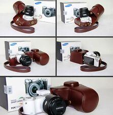 Dark brown leather case bag for Samsung NX300 NX300M camera 20-50mm lens coffee