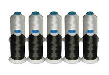 10 Cones ThreaDelight Rayon Machine Embroidery Thread 5 Black/5 White 40wt 1000y