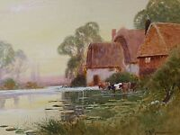 Henry John Kinnaird Landscape Watercolour Painting - Cattle / River Ouse Sussex