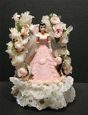 Quinceanera Sweet Fifteen 15  16 Porcelain Cake Topper 1994 Lace Pink Rosebud