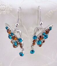 Butterfly Earrings Silver Brown Teal Crystal Silver Fashion Jewelry NEW
