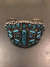 Navajo Style Faux Turquoise Silver Cuff Bracelet Retro
