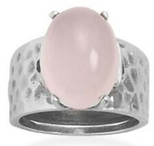 Rose Quartz w/Oval Stone-15mm X 12mm-Hammered Oxidized Sterling Silver Ring Sz 8