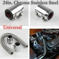 Universal 24in. Chrome Stainless Steel Radiator Hose Kit With Cap/Radiator Cover
