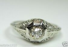 Antique Art Deco Vintage Diamond Engagement Ring 18K White Gold Ring EGL USA