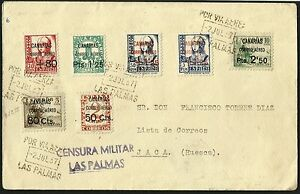 1937 Las Palmas Spain Registered Military Censored Cover to Jaca, Huesca