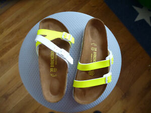 BIRKENSTOCK Birkis Sandalen Schuhe Gr. 39 normal neon gelb weiß