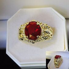 Men's deluxe 10k yellow gold filled red garnet crystal ring,  sz S, NEW DESIGN