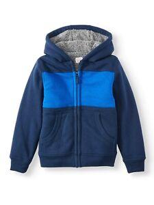 Boy's Color Block Wonder Nation Blue Sherpa Lined Full Zip Hoodie Front Pockets