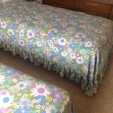 TWO TWIN Vintage Flower Daisy Bedspread COVERLET Aqua Purple FIELDCREST EUC PAIR
