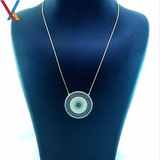 14K Gold Plated 925 Sterling Silver Turkish Jewelry Evil Eye Necklace CZ 18'' N9