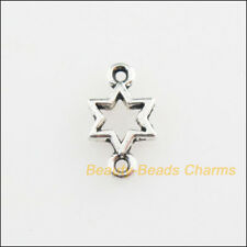 80Pcs Tibetan Silver Tone Tiny Star Charms Connectors 5.5x10mm