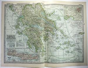 Original 1902 Map of Greece, Crete & Samos by The Century Company