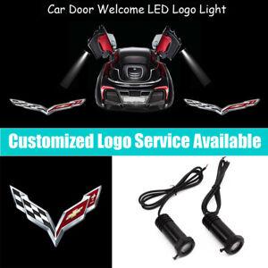 2x Silver Corvette C7 Logo Car Door LED Light Projector for Z51 Z06 ZR1 Stingray