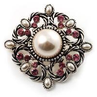 Wedding Corsage Faux Pearl Crystal Brooch (Antique Silver)