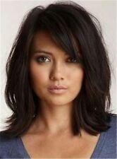 100% Real Hair!Loose Messy Lob Medium Wave Hair With Bangs Capless Wigs