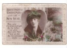 Greetings for Christmas And The New Year, Vintage Embossed Real Photo Postcard