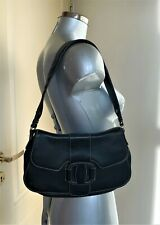 Authentic SALVATORE FERRAGAMO Black Leather Satchel Hand Bag Shoulder Bag Purse