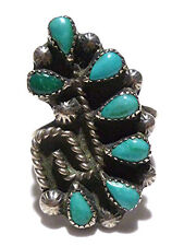 SIZE 7.75 ZUNI PETIT POINT TURQUOISE STERLING SILVER WOMENS RING