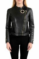 Versace Collection 100% Leather Black Full Zip Women's Basic Jacket Sz S M 2XL