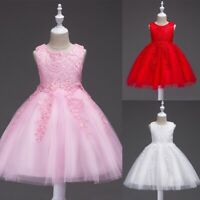 Wedding Flower Girls Dress Lace Floral Baby Party Princess Sleeveless Dress 1-8Y