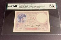 PMG France, Banque de France 5 Francs 1926-32 p72d AU53