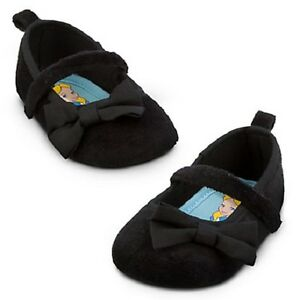 ALICE in WONDRLAND~Baby~Shoes + Bow~Infant~Black Velour~Costume~Disney Store