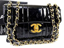 AUTH CHANEL BLACK PATENT LEATHER Mademoiselle JUMBO XL SHOULDER BAG W30 Q904